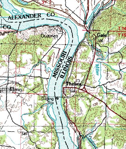 Thebes Gap, where the Mississippi takes a wide turn into the narrow reach of Thebes Gap.